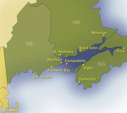 Map of Bay of Fundy Communities