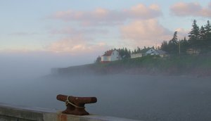 Fog rolling in off the Bay of Fundy at Halls Harbour